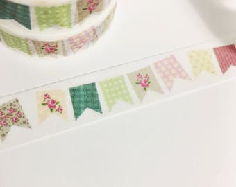Colorful Shabby Chic Bunting Floral Polka Dot Plaid Bunting Washi Tape 11 yards 10 meters 15mm