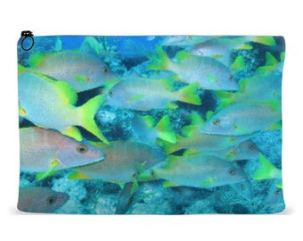 Accessory Pouch Abstract School of Fish Design | Zippered Accessory Bag | Cosmetics Bag | Kindle Pouch | iPad Pouch | Organizer Bag
