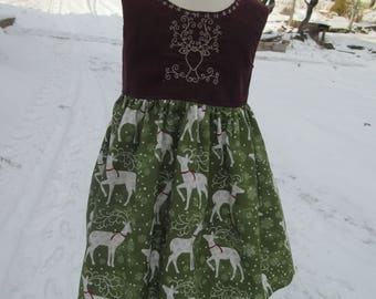 Deer party dress, embroidered  burgdany corduroy girls dress,  available to order 2T,3T,4T,5