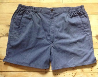 French Bold 1960s Vintage Men Sportwear Short Shorts - Blue Cotton - MADE IN FRANCE - New - L - W : 36