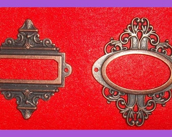 Antiqued Ornate Brass Book Plates PAIR Oval Rectangle Frame Decorative Label