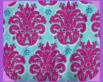 Bold and Bright Fleur de Lis Cotton Fabric Print in Hot Pink Turquoise Remnant