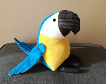 Blue-Gold Macaw Plush Birdie, Cuddly Parrot Soft Toy