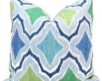Thibaut Decorative Pillow Cover, Blue, Turquoise, Green Pillow, Throw Pillow, Accent Pillow, Toss Pillow, Thibaut Cruising, Beachy Decor