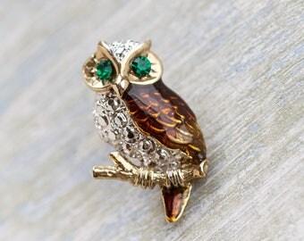 Owl Lapel Pin - Vintage Brooch