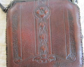 Vintage Arts and Crafts leather purse