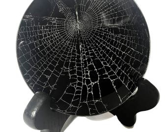 Real Spider Web Preserved in Glass
