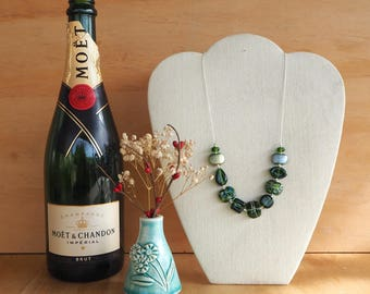 Recycled Glass Bead Necklace with mixed beads. Recycled Glass Beads made from a Moet Champagne Bottle