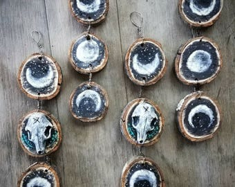 3 Little Moons - handmade wooden decorative ornament - with fox skully or without