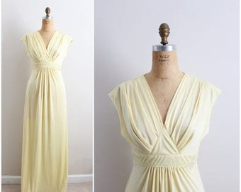 40%OFF / 70s Sweet Sunshine Maxi Dress / 1970s Maxi Dress / Party Dress / Evening Gown/ Evening Dress / Size M/L