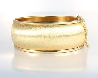 Brushed Gold Bangle Bracelet, Oval Wide Hinged Bangle, Safety Chain Vintage jewelry