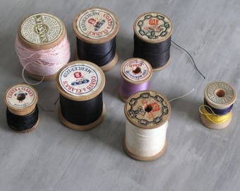 Vintage Lot of Wooden Spools with thread - 8 spools
