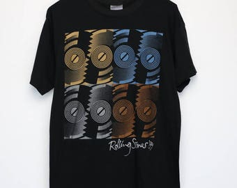 Rolling Stones Shirt Vintage tshirt 1989 Steel Wheels Tour Concert Tee 1980s Ronnie Wood Keith Richards Mick Jagger Blues Rock and Roll
