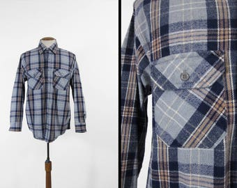 Vintage Frostproof Flannel Shirt Blue Gray Plaid Cotton Workwear Made in USA - Size XL