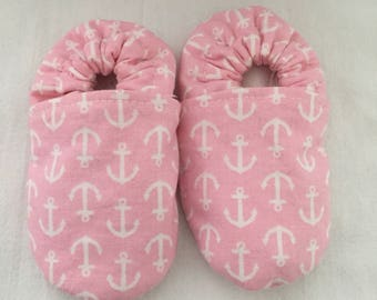 Pink and White Anchor Baby Booties