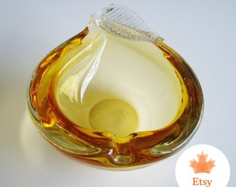 Vintage Chalet Glass, Canadian Glass, Signed, Pear Ashtray, Rare, Collectible, Art Glass, Large,  Chalet Collector, Amber Glass, EtsyCA150+