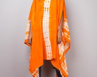 Poncho, tie dye poncho, women poncho, hand dyed shibori poncho, orange poncho, orange beach wear : Nature Touch Collection