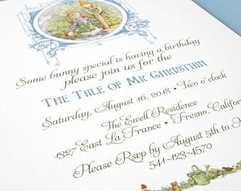 PETER RABBIT BIRTHDAY Blue Invitation Beatrix Potter Printable Digital Download Custom Invitation Rabbit Garden Birthday Party 1005