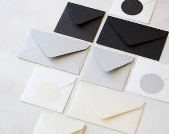Mini Metallic Envelopes - 24 pc - Onyx (Black) / Silver / Opal (Ivory Cream)