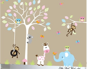 White tree decals nursery wall owls decal