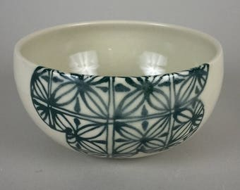 Thrown Cerial bowl, Flower Pattern