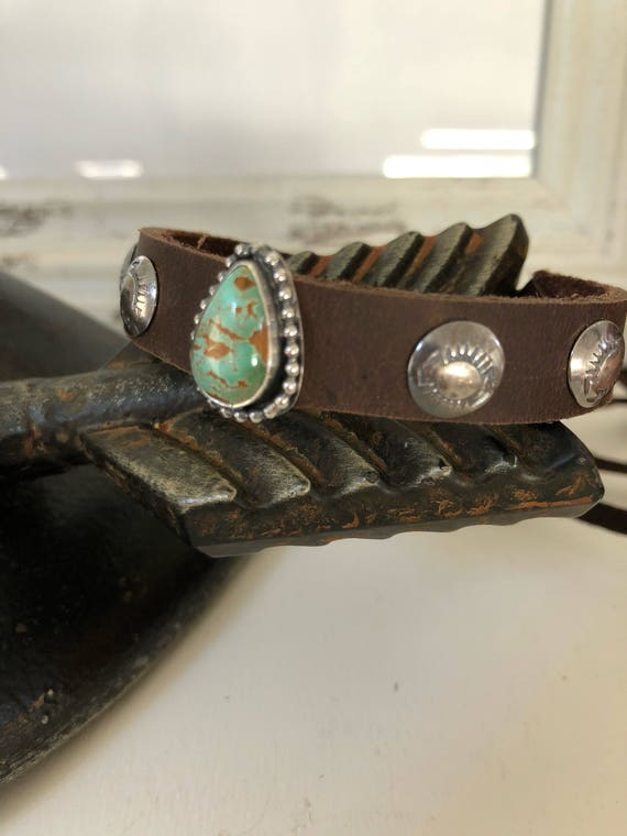 Handmade, Southwestern, Royston Turquoise, Brown Leather adjustable cuff, Turquoise Cuff, One Of A Kind