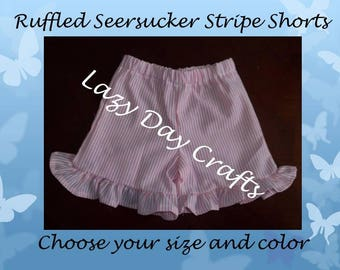 Girls Ruffled Seersucker Stripe Shorts - Infant and Toddler Shorts - Sizes 12 Months to 5 - Many Colors Available