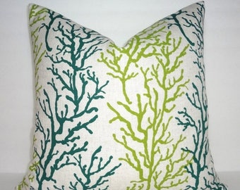 FALL is COMING SALE Nautical Teal & Green Coral Pillow Cover Natural Background Ocean Coral Teal Lime Print Pillow Cover 18x18
