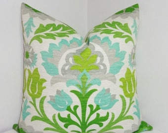 FALL is COMING SALE Outdoor Pillow Cover Bright Colorful Waverly Santa Maria Mint Julip Lime Green Aqua Floral Pillow Cover 18x18