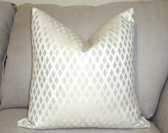 SPRING FORWARD SALE Ivory Diamond Pattern Pillow Cover Pale Ivory Diamond Decorative Pillow Cover Choose Size