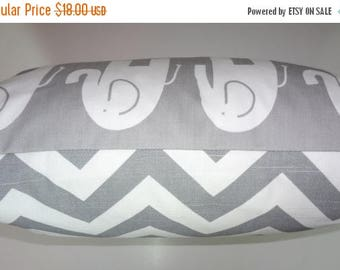 SPRING FORWARD SALE Decorative Pillow Cover Grey & White Elephant Chevron Zig Zag Nursery Baby Pillow Cover 18x18