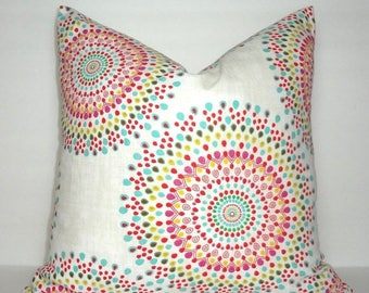 SPRING FORWARD SALE Pink Yellow Aqua Blue Green Red Medallion Pillow Cover Living Room Decor Decorate with Pillows Size 18x18