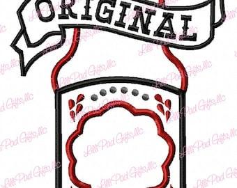 Original Red Hot Sauce Bottle - Applique - Machine Embroidery Design - 5 Sizes