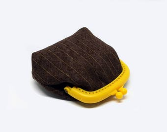 Small pouch - Fabric coin purse - Small coin purse -  Coffee and Yellow - Framed clutch purse - Plastic Frame