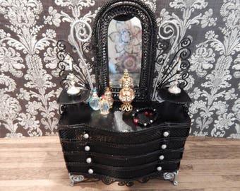 Gothic Black Dresser With Decor Victorian Ornate Wicker Look Dollhouse  Furniture Miniature Vanity Dollhouse Dresser