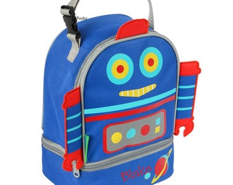 Personalized Boys Lunch Box Bag Stephen Joseph Lunch Pals in Robot