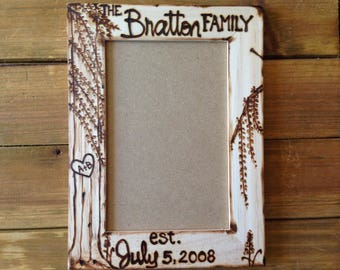 FAMILY Wedding Photo • Anniversary • established • Wedding date • willow tree • Rustic Barn Farmhouse Chic • Lettering by Hand • engaged