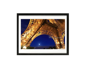 Eiffel Tower Paris art, Paris at night, Indigo Paris Eiffel Tower, Paris photo, Paris art, Paris decor, Home decor, Wall decor, architecture