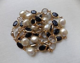 Vintage Chanel Style  Necklace  Pearls Black Glass Open Bezels -SUPER