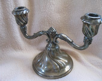 """Vintage Silver Metal Double Candleholder marked """"Metall"""" on base"""