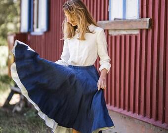 Blue Skirt, Classic Skirt, Flared Skirt, Folded Skirt, Linen Skirt, High Waisted Skirt, Pleated Skirt, Circle Skirt, Romantic Skirt