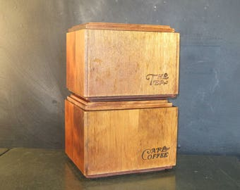 Pair of Vintage Wooden Stackable Kitchen Canisters-Tea Coffee-French English