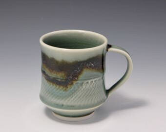 Wheel Thrown Porcelain Mug Celadon and Tenmoku Glazes with Chattering Texture by Hsin-Chuen Lin 林新春
