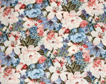 """Over 2 yds Floral Cotton Fabric Blue White Pink Roses Lightweight Material """"Ozark Calico by Fabri-Quilt"""""""
