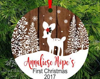 Personalized Baby's First Christmas Ornament | Deer Ornament | 1st Christmas Kid's Ornament | lovebirdslane