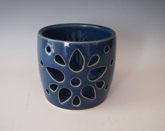 Wheel thrown ceramic luminary- carved, dark blue