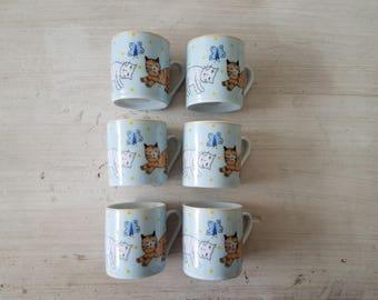 Set of Espresso Cups / Cat Espresso Cups / Set of 6 Tea Cups / Mini Cafe cups /  Cat coffee cups / Espresso cup set / mini tea set