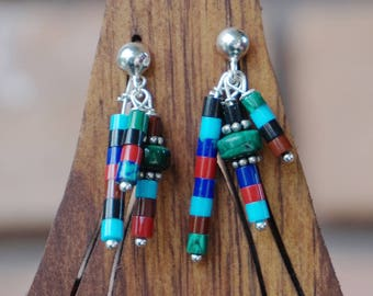 Malachite, Lapis, Turquoise, and Agate Fringe Earrings