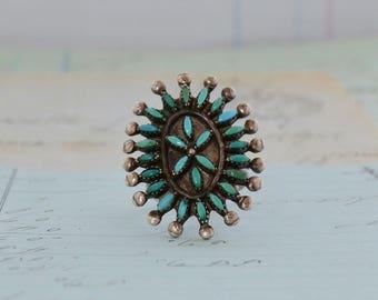 Zuni Petit Point Turquoise Ring - Size 7