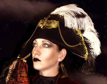 Steampunk black bicorn costume hat